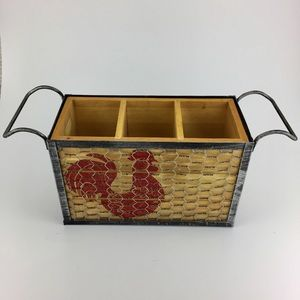 Wooden red rooster caddy wire metal handle